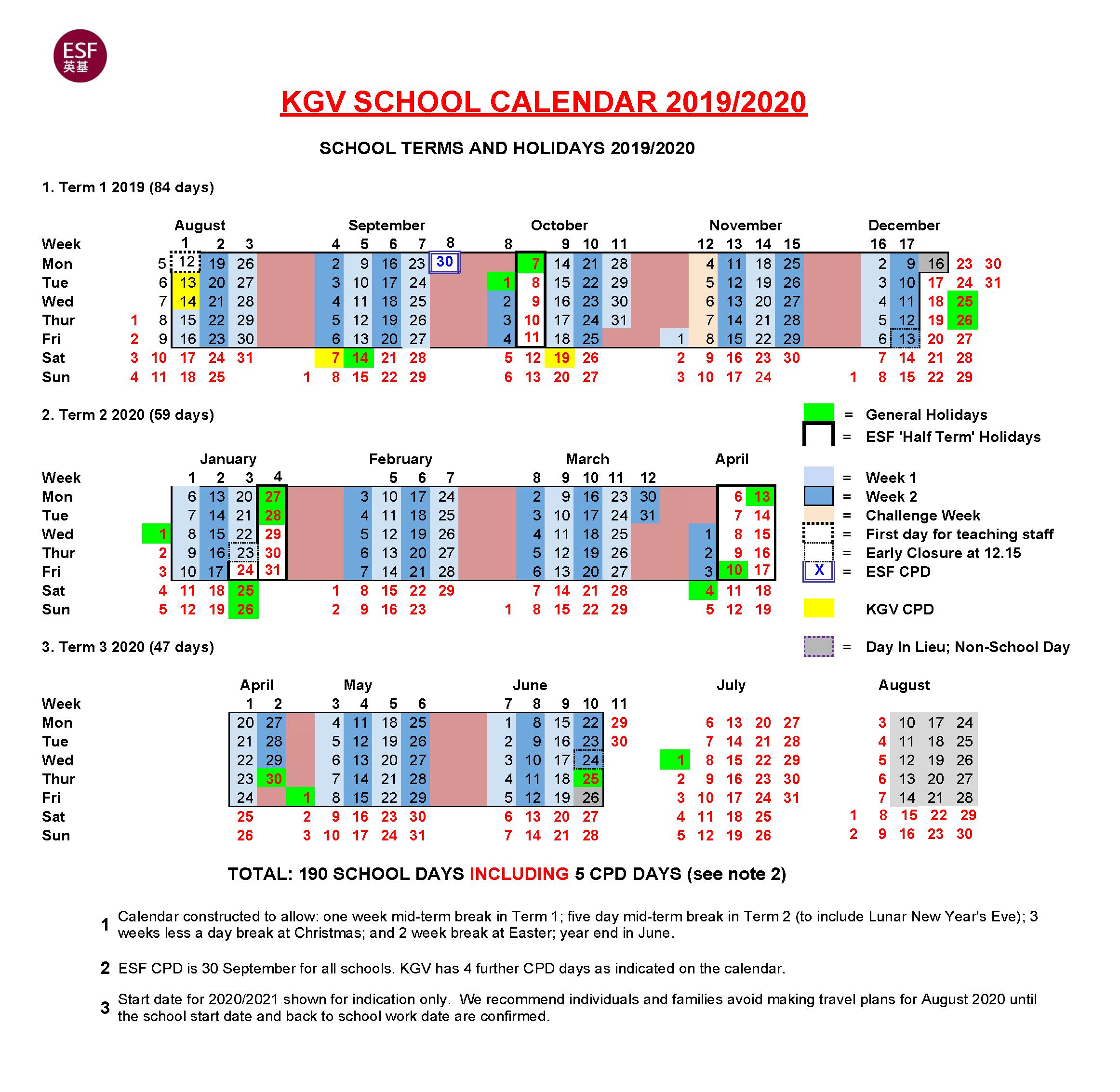KGV – ESF Calendar - KGV - ESF